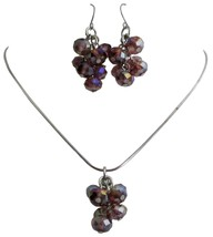 Girls Return Gift Amethyst Beads Pendant Earrings Jewelry Set - $9.17