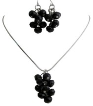 Jet Crystals Bunch Grape Style Jewelry Necklace Earrings Set - $9.17