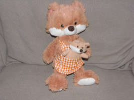 "Animal Adventure 13""Mama Fox & Baby W/Gingham Plaid Apron Plush Stuffed ... - $15.83"