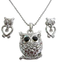 Cute Owl Pendant Earring Set In Silver Metal with Gift Box - $8.83