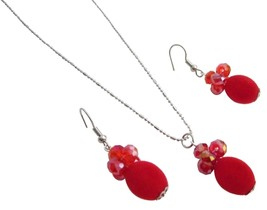 Red Velvet Bead Cluster Round Crystals Rhodium Chain Party Jewelry Set - $9.48