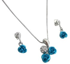 Christmas Gift Idea w/ Gift Box Turquoise Rose Diamante Pendant Set - $9.48
