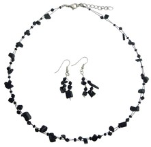 Fresh Design Reasonable Gift In Jet Stones with Crystals Jewelry Set - $9.17