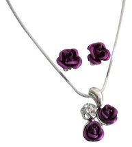 Gift Holiday Special Offer Jewelry Gifts Purple Rose Pendant Set - $9.48