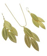 Golden Dangling Leaves Classic Antique Inexpensive Pendant Earring Set - $8.83