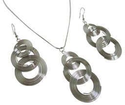 Circle Round Drop Ring Dangle Pendant & Earrings Alloy Silver - $8.83