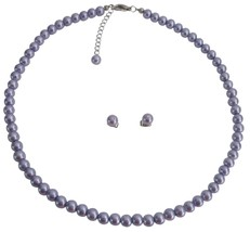 Wedding Favors Gift Gorgeous Lilac Pearls Necklace Earrings Set - $9.48