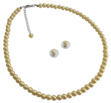 Girl Friend Bridesmaid Party Favor Gifts Yellow Pearls Jewelry Set - $9.48