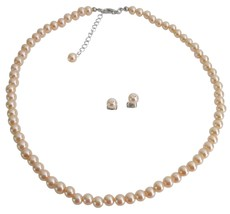 Wholesale Price For Wedding Jewelry Shop Peach Pearls Jewelry Set - $9.48
