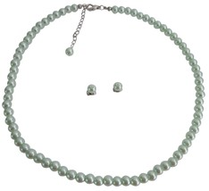 Flower Girls Jewelry Junior Bridesmaid Jewelry In Lite Green Pearls - $9.48