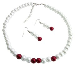 White & Red Pearls Necklace Earrings Set Wedding Flower Girl Jewelry - $8.83