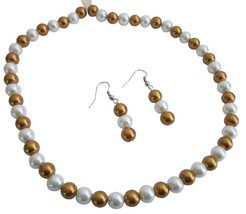 Gold & White Wedding Bridal Pearls Jewelry Necklace Earrings Set - $8.83