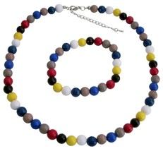 Multicolor Faceted Beads Necklace & Bracelet Birthday Return Gift - $9.48