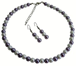Victorian Lilac Beautiful Flower Girl Jewelry Necklace Earrings Set - $8.83