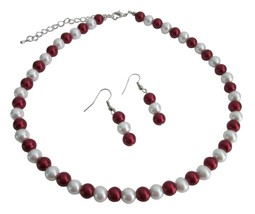 Red & White Combo Gorgeous Bridesmaid Jewelry Necklace Earrings Set - $8.83