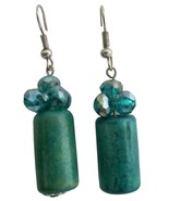 Stylish Earrings Green Barrel Bead with Crystals - $4.30