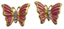 Hot Pink Butterfly Golden Beautiful Cute Gift Earrings - $4.30