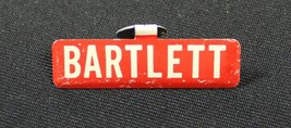 "Vintage Bartlett Fold Over Lapel Pin Badge Metal Red White 1 3/8"" - $7.49"