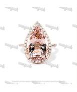 4Ct Pear Cut Morganite & Diamond Halo Engagement Ring In 14K Rose Gold F... - $118.99