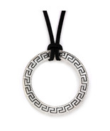 Meander-Greek Key Necklace -  Sterling Silver Large Pendant with Choker  - $74.00