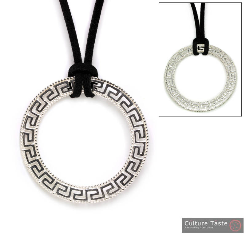 Meander-Greek Key Necklace -  Sterling Silver Large Pendant with Choker