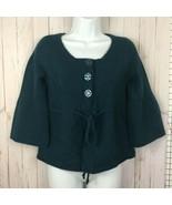 Sarah Spencer S Angora Wool Knit Sweater Cardigan Green Bell Sleeve Boho... - $49.95