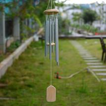 6 Tubes Hanging Wind Chime Aluminum Wood Blessing Bell Home Garden Door ... - $9.00