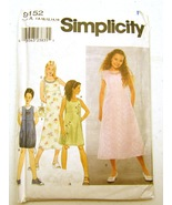Simplicity Girl Dresses or Jumper and Purse 9152 for Size A, - $6.99