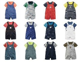 NWT $28 Carters Infant Boys 2-Piece Shortalls Outfits Overall Shorts NB-... - $16.99