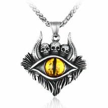Ghost Skull Eye Pendant Stainless Steel Made Biker Hip Hop Men Necklaces Jewelry - $10.07+