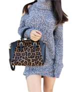 NWT Michael Kors Ciara Medium Messenger Crossbody Leopard Black Calfhair - $157.99