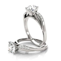 Forever Brilliant Moissanite Cathedral Leaf Diamond Engagement Ring - $945.00