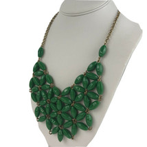 """J. Crew Green Floral Statement Necklace Gold Tone 22"""" - $26.14"""