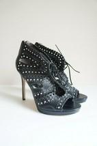 New Sam Edelman Elyse Sz 9 M Women Black Leather Lace Up Stud Open Toe Heels 9M - $39.59