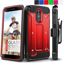 LG G Stylo 3 Case Glass Screen Protector Swivel Belt Clip Holster Hard C... - $16.17