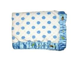 Child Of Mine Carter's My Sweet Boy Dinosaur Baby Blanket Polka Dot Blue Satin - $22.26