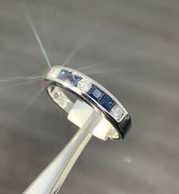 Vintage Sapphire And Diamond Ring 14k White Gold Size L 1/2 BHS - $578.94