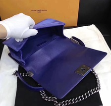 AUTHENTIC CHANEL ROYAL BLUE QUILTED VELVET MEDIUM BOY FLAP BAG SHW image 9
