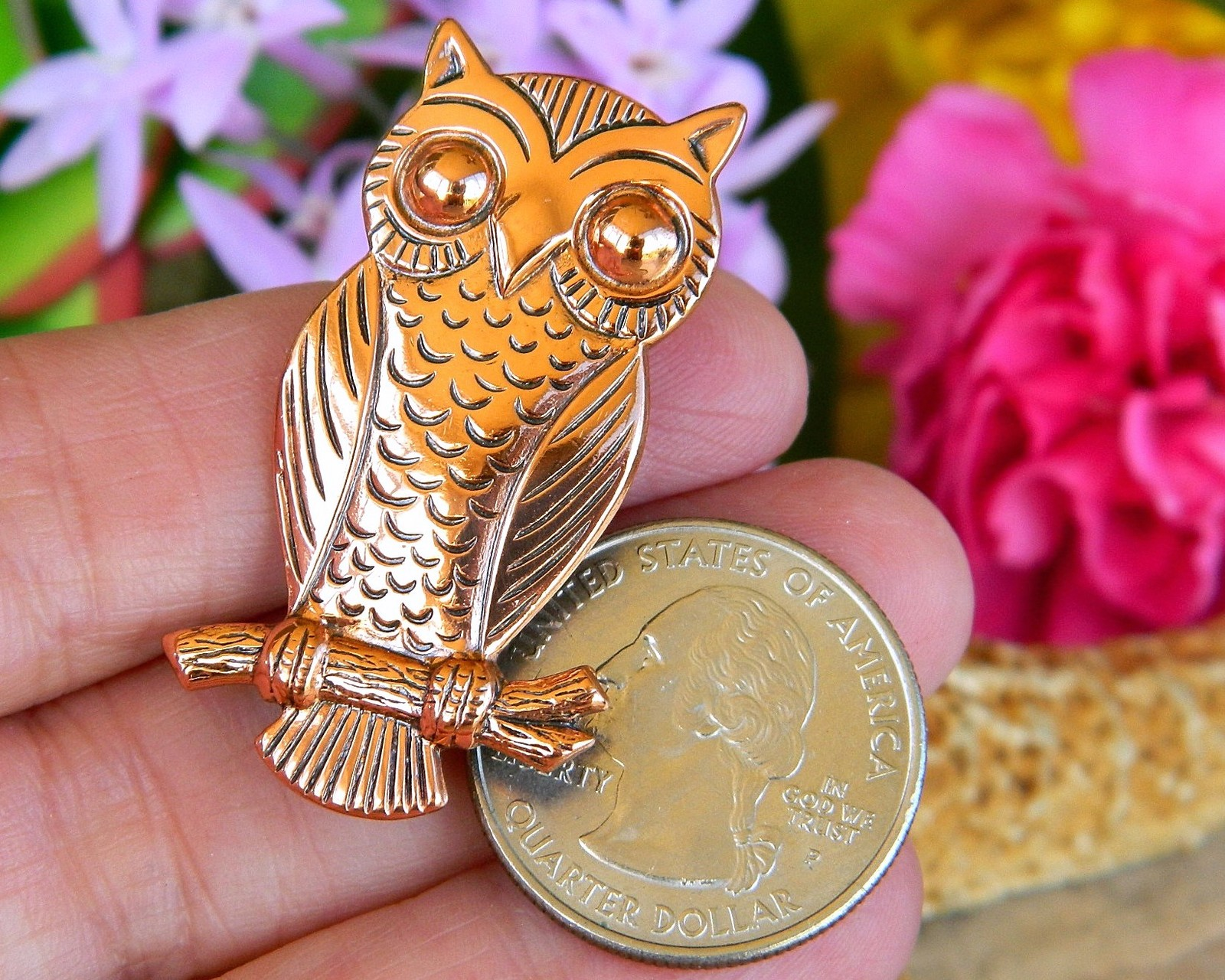 Vintage Solid Copper Owl Tree Branch Brooch Pin Bell Trading Post USA image 11