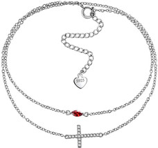 Aurora Tears 925 Sterling Silver Sideway Cross Bracelet Women Double Cha... - $65.75