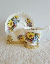 ROYAL ALBERT Gorgeous  Summer Bouquet Tea Cup and Saucer EUC Ship Fast w... - $19.99
