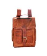 "New Man's 26"" Handmade Brown Satchel Tanned Vintage Leather Backpack Uni... - $59.15"