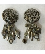 Earrings Clip On Button Metal Brushed Nickel Dangling Fringe Pair Vintage  - £8.73 GBP