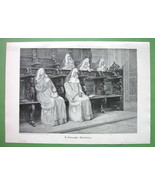 NUNS in Church Meditation Prayers - VICTORIAN Era Original Engraving - $12.15