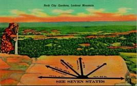 Lookout Mountain TN Rock City Gardens See Seven States UNP Vtg Linen Pos... - $5.95