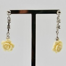 Silver Earrings 925 Rhodium Hanging Zircon Cubic and Pink Beige of Resin image 2