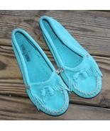 Minnetonka Size 6.5 Moccasins 402S Turquoise Blue Womens Fringe Kilt Sue... - $23.74