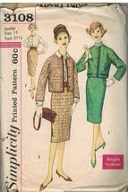 3108 Vintage Simplicity Schnittmuster Misses Zweiteilig Jacke Anzug Rock BLUSE - $4.49
