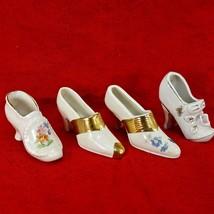 Vintage Porcelain Miniature Vintage High Heel Shoes LOT 4pc Figurine Gol... - $12.19