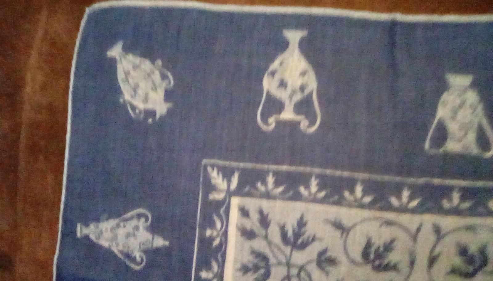 Faith Austin Handkerchief EUC Blue Urn Print image 3